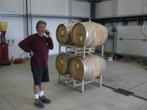 They're in! The first of many barrels trucked to Longoria Wines' spacious new Chestnut Avenue site rest next to Longoria
